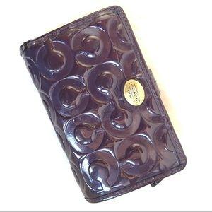 Coach Patent Leather Bifold Wallet Purple